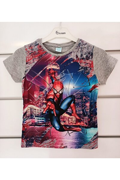 SPIDERMAN Gri Kısa Kollu Erkek Çocuk Üst Tsirt Spider