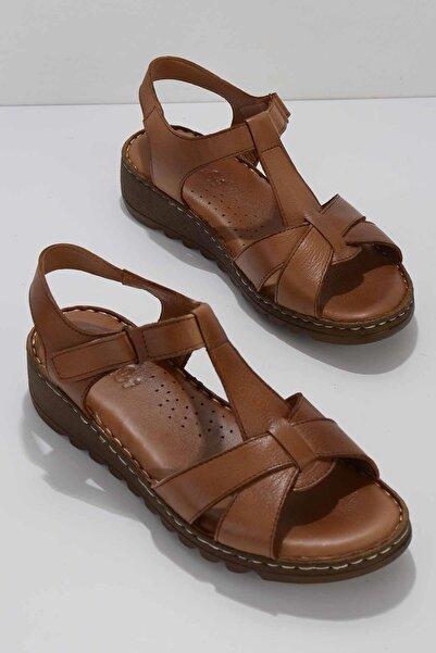 Bambi Taba Hakiki Deri Kadın Sandalet K05907000203