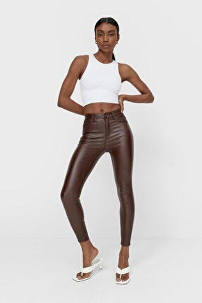 Kadın Kahverengi Mumlu Görünümlü Yüksek Bel Pantolon