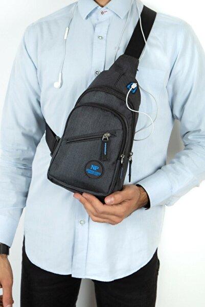 Av A Dos Unisex Siyah Keten Kulaklık Çıkışlı Çapraz Askılı Bel Omuz Çanta Göğüs Bodybag
