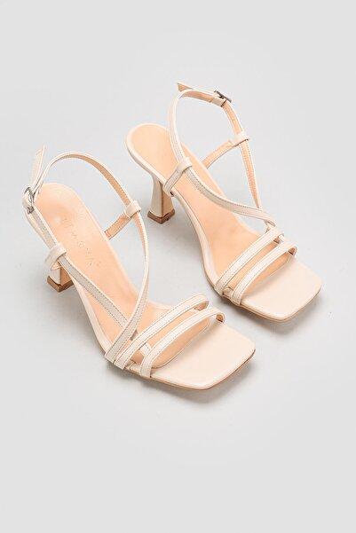 Limoya Ten Ince Bantlı Bilekten Tokalı Ince Topuklu Ayakkabı