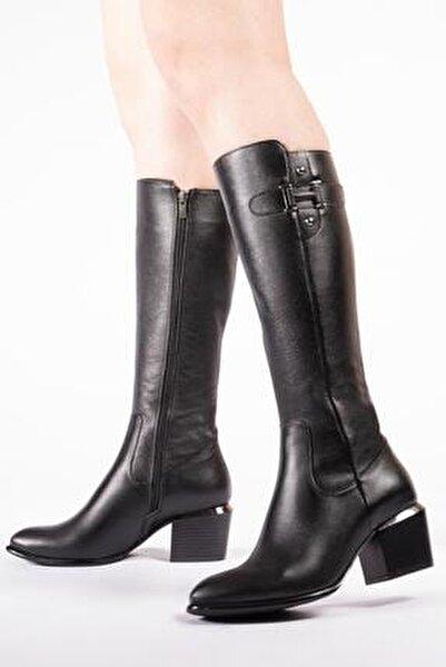 Hakiki Deri Kadın Çizme Fermuarlı Tokalı Kışlık Ayakkabı