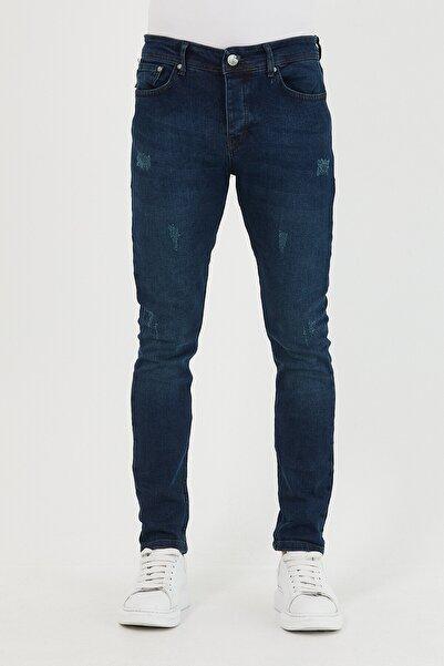 Mc. Grado Erkek Lacivert Skinny Fit Destro Tırnaklı Likralı Bilek Boy Jean Pantolon