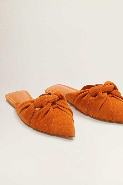 Mango Turuncu Düğümlü Deri Ayakkabı