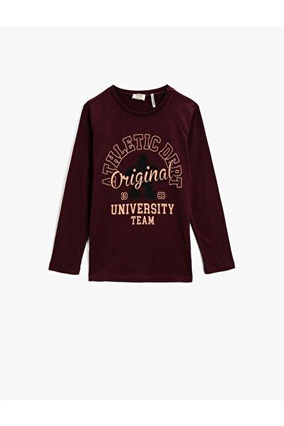 Koton Erkek Çocuk Bordo Baskılı Uzun Kollu T-Shirt Pamuklu
