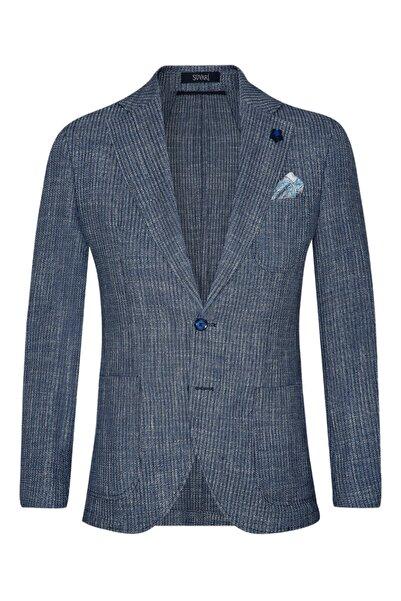 SÜVARİ Slim Fit Desenli Mavi Erkek Ceket