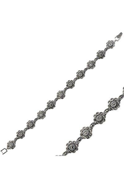 Silverella Gümüş 925 Ayar Çiçek Markazit Taşlı Bileklik