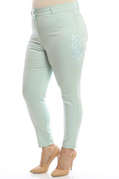 Hanezza Full Likralı Nakışlı Keten Pantolon