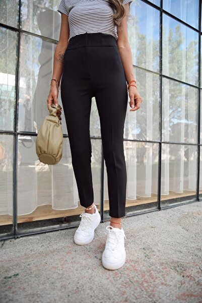Valeria Vilson Kadın Siyah Extra Yüksek Bel Toparlayıcı Kumaş Pantolon