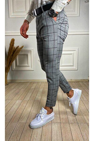 ukdeep Erkek Italyan Kesim Ekose Kumaş Pantolon