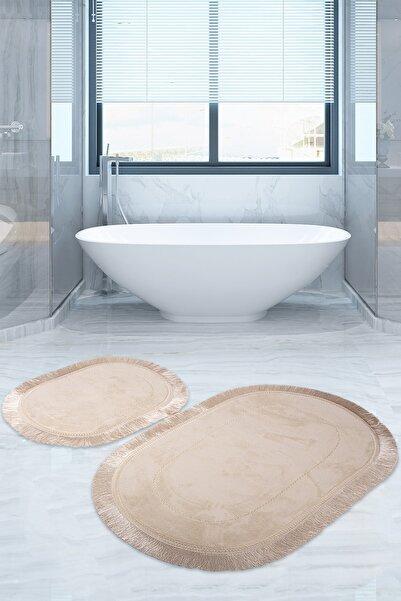 Bonny Home Pera Vizon 2'li Banyo Paspası Seti Kaymaz Tabanlı Saçaklı Püsküllü Klozet Takımı