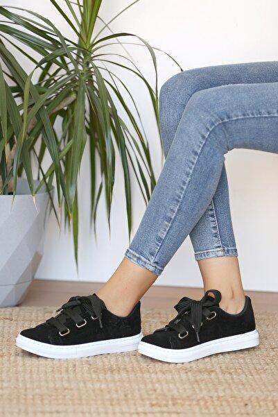 Pembe Potin Kadın Siyahsüet Ayakkabı