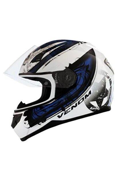VENOM Vf-391 Kapalı Motosiklet Kaskı - Circuit Graphic-2 Blue