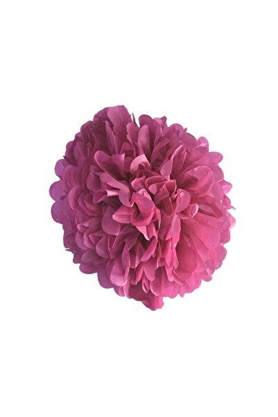 MascotShop Fuşya / Koyu Pembe Ponpon Gramafon Çiçek Kağıt Doğum Günü Parti Süsü1 Adet