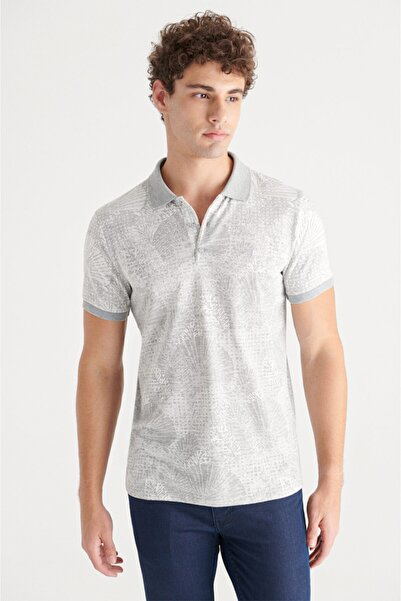 Avva Erkek Gri Polo Yaka Jakarlı Slim Fit T-shirt A11y1197