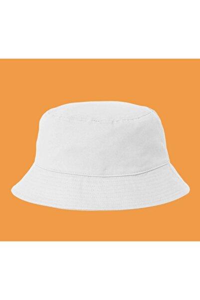 Elementtukkan Sade Beyaz Kadın Bucket Şapka