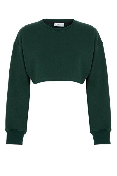 By Umut Design Kısa Haki Yeşil Sweatshirt