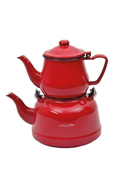 NURGAZ Campout Emaye Çaydanlık Set Kırmızı & Mavi