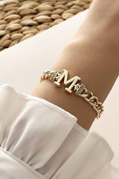 Çlk Accessories Gold M Harf Bileklik Trbilek7539 B34003
