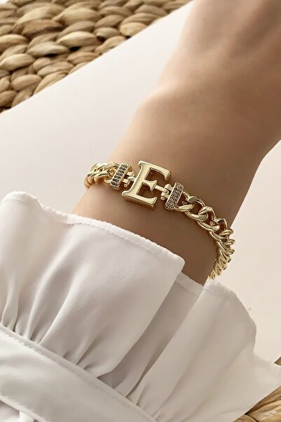 Çlk Accessories Gold E Harf Bileklik Trbilek7538 B34003