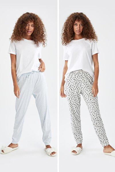 DeFacto Kadın Mavi Relax Fit Desenli Pamuklu 2'Li Pijama Altı V2868AZ21HS