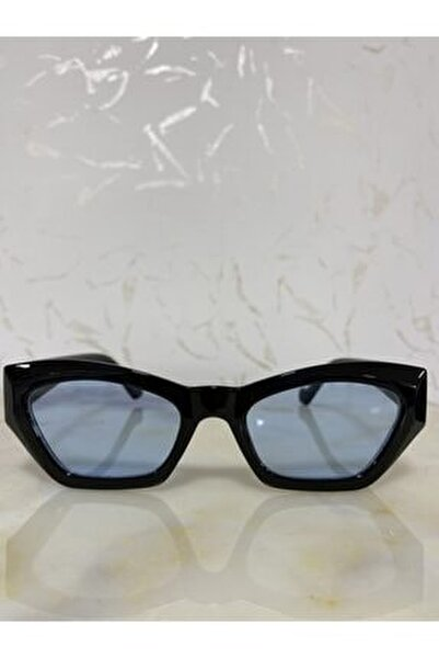 Kadın Mavi Siyah Retro Cat Eye Güneş Gözlüğü Zvhrk-2136