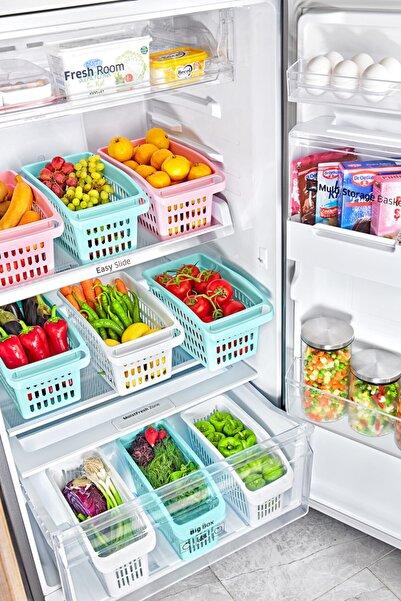 tıkla yolla 3 Adet Geniş Buzdolabı Düzenleyici, Dolap Içi Düzenleyici Organizer Beyaz Renk