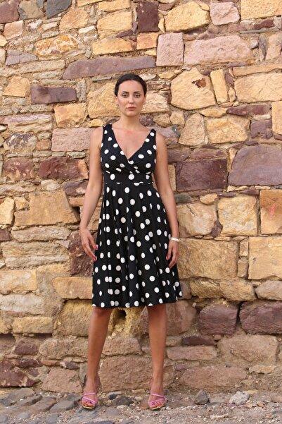 TarzımBu lily pure Kadın Siyah Puantiyeli Midi Elbise