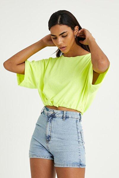 istare Kadın Neon Yağ Yıkamalı T-shirt Sarı