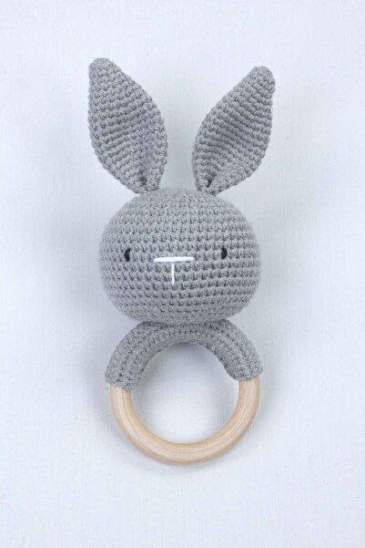 Modakids Gri Organik El Yapımı Amigurumi Tavşan Çıngırak Oyuncak