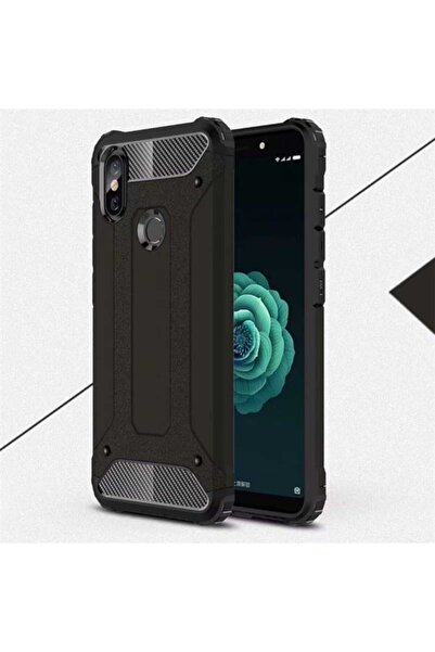 Xiaomi Mi A2 Lite Kılıf Çift Katmanlı Ultra Koruma Zırh Tasarım Kapak Siyah