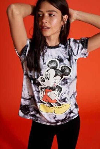 Mickey Mouse Lisanslı Batik Oversize Fit Kısa Kollu Tişört