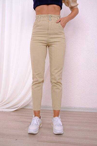 For Angels Kadın Bej Beli Lastikli Mom Jeans