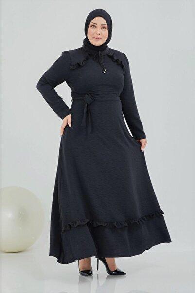 TMR Büyük Beden Siyah Şık Elbise