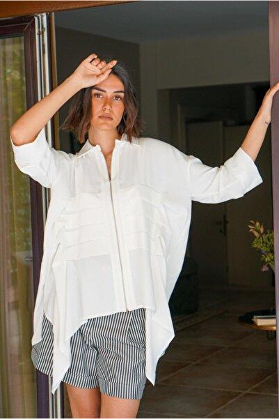 Say Önden Fermuarlı, Pileli Asimetrik Gömlek Bluz