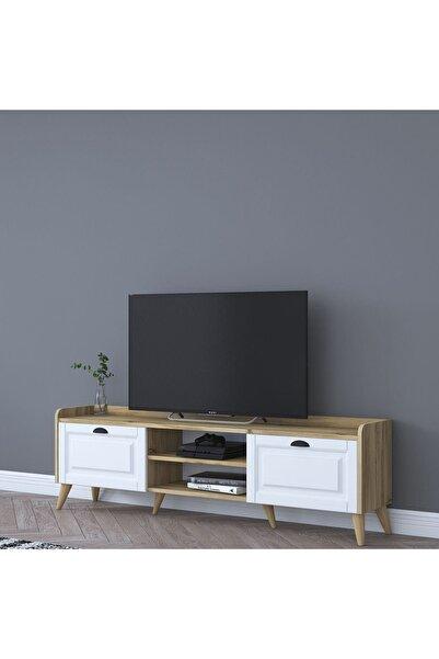 Rani Mobilya Rani Aa101 Modern Tv Ünitesi Tv Sehpası Beyaz Keçe Ceviz M1