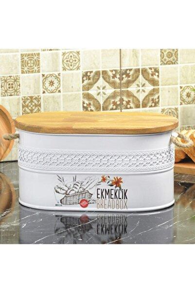 Yıldıray Metal Ferforje Ahşap Kapaklı Kesme Tahtalı Ekmeklik Beyaz