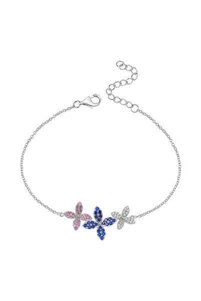 Luzdemia Renkli Zirkon Taşlı Çiçekli Gümüş Bileklik