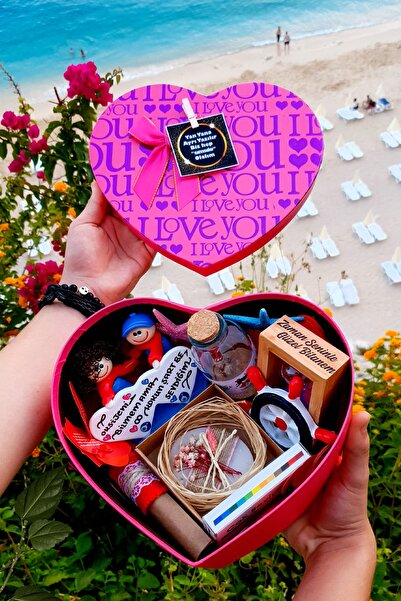 HediyeKombini Kız Arkadaşa Sevgiliye Pembe Kutuda Romantik Hediye Doğum Günü Yıldönümü Sürpriz I1love2pink9