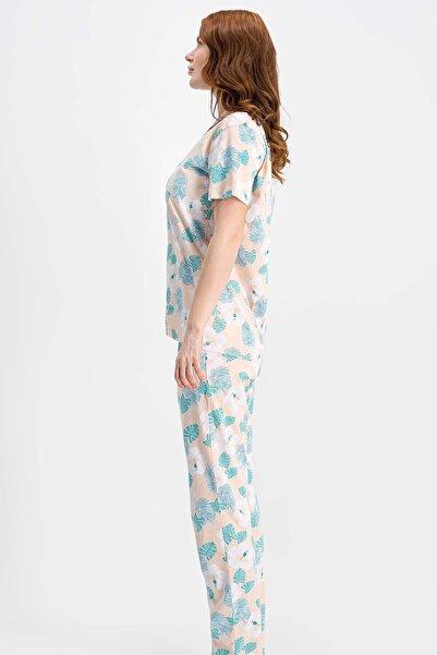 ROLY POLY Tropical Flowers Yavruağzı Kadın Gömlek Pijama Takımı