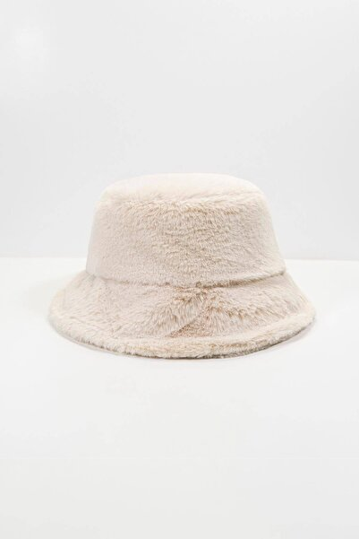 Addax Kadın Bej Yumuşak Dokulu Bucket Şapka Şpk1032 - F1 Adx-0000022935
