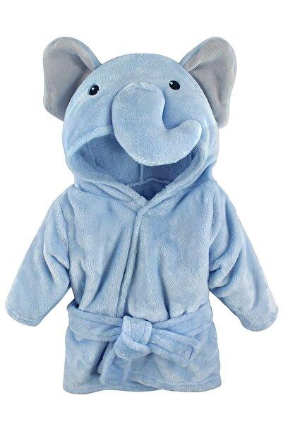 Moky Design Yeni Doğan Bebek Bornozu, Fil Hayvanlı Mavi, %100 Pamuk, 0-9 Aylık, Yeni Doğan Bebek Hediyelik