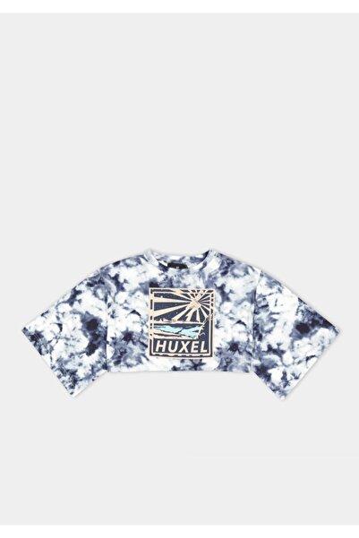 HUXEL Natural Touch Lacivert Batik Crop T-shirt