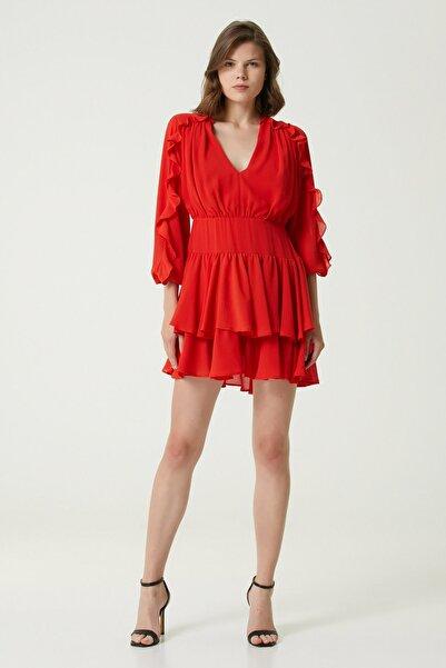 Network Kadın Basic Fit Kırmızı Fırfır Detaylı Mini Elbise 1079823