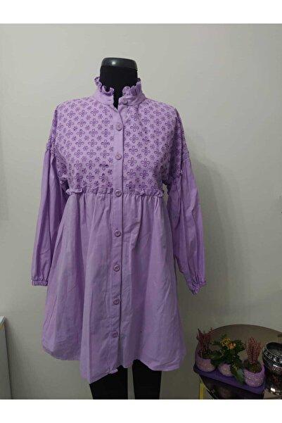 TMR Kadın Lila Fisto Desenli Elbise Tunik