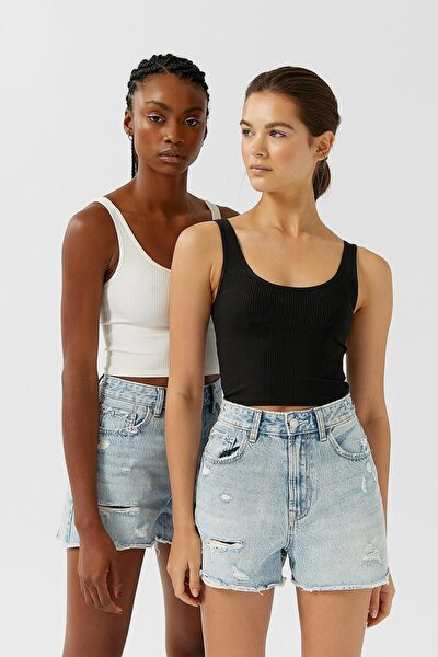 Asfa Moda Kadın Siyah Ve Beyaz 2'li Crop Top Paketi