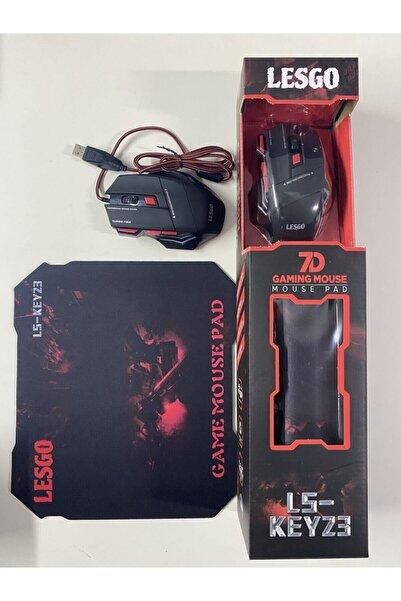 LESGO X7 Işıklı Oyuncu Mouse+ Mousepad Kırmızı
