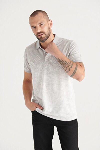 Avva Erkek Açık Gri Polo Yaka Jakarlı Slim Fit T-shirt A11y1199