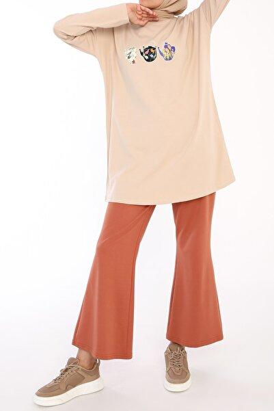 ALLDAY Bej Demlik Baskılı Uzun Kollu T-shirt Tunik