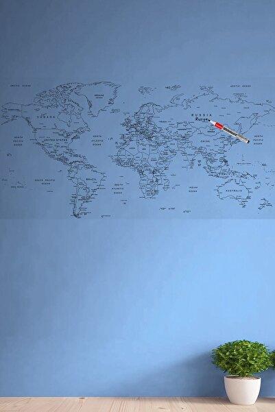 Buffer Yazılabilir Dünya Haritası Manyetik Duvar Stickerı 110 X 56 Cm